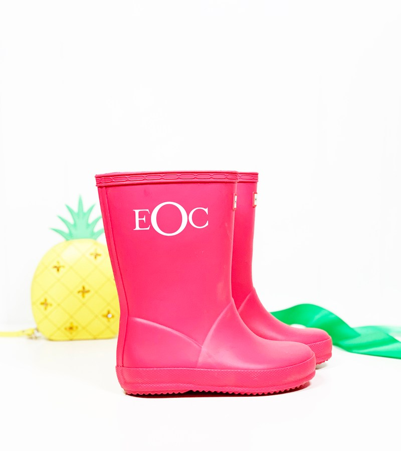 Pink Monogrammed Rain Boots for Toddler Girl with Cricut Vinyl