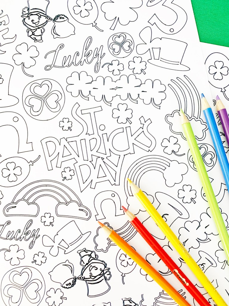 St. Patricks Day Coloring Page DIY with your Cricut by Pineapple Paper Co.