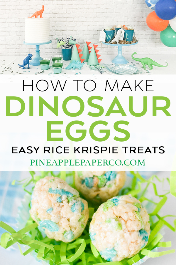 Dinosaur Egg Rice Krispie Treats by Pineapple Paper Co.