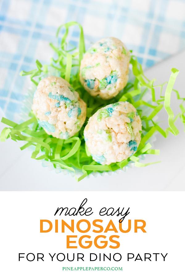 Dinosaur Egg Rice Krispie Treats by Pineapple Paper Co.