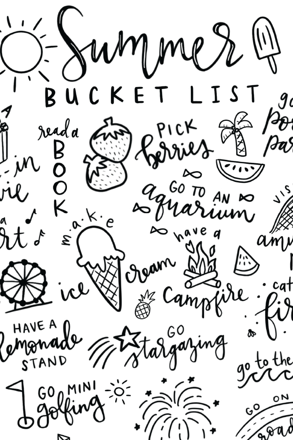 Summer Bucket List Free Printable Coloring Page