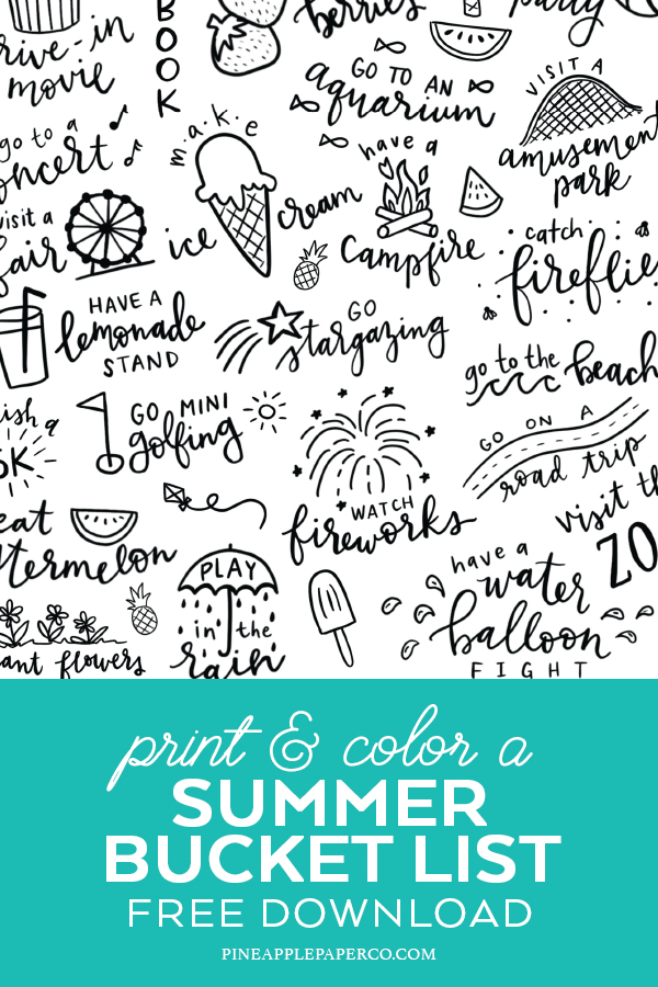 Summer Bucket List Free Printable perfect for Kids by Pineapple Paper Co.