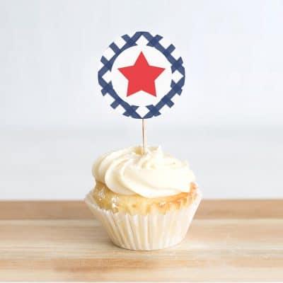 Free Stars & Stripes Patriotic Printable Cupcake Toppers