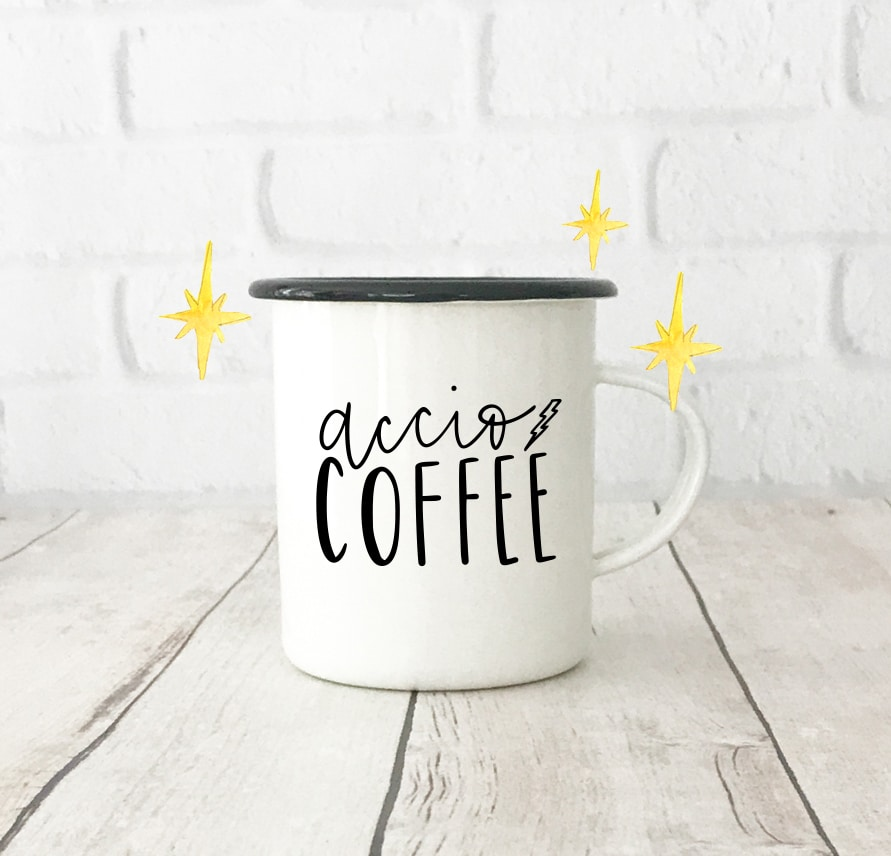 Accio Coffee Harry Potter Mug with Free SVG Download for Cricut & Silhouette by Pineapple Paper Co.