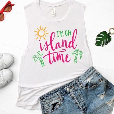 Free Tropical I'm On Island Time SVG Cut File