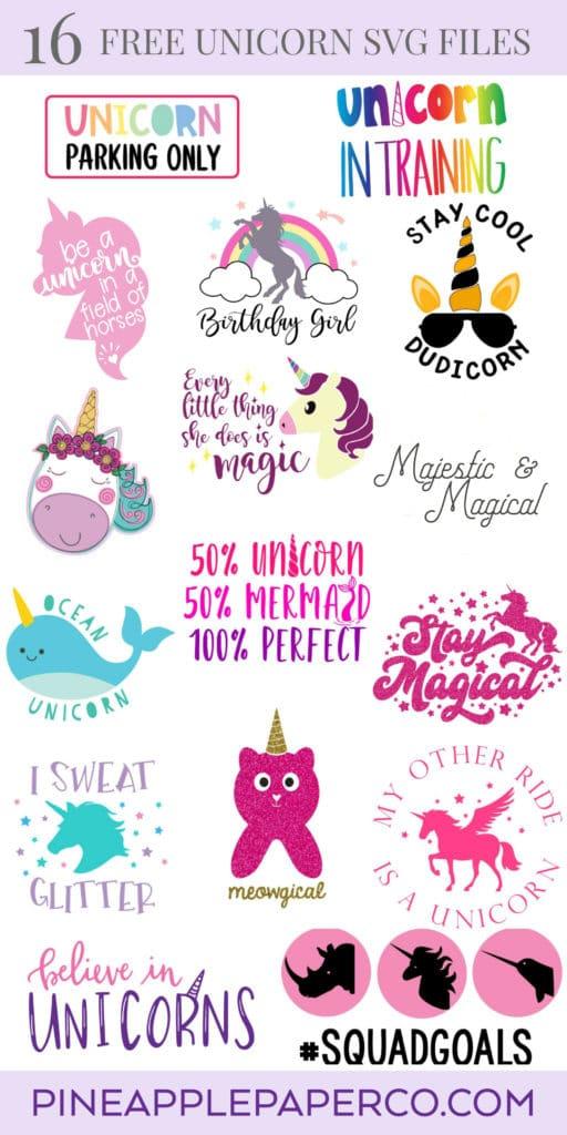 Believe in Unicorns SVG Cut Files plus 15 more Free Unicorn SVG Cut Files for Cricut and Silhouette