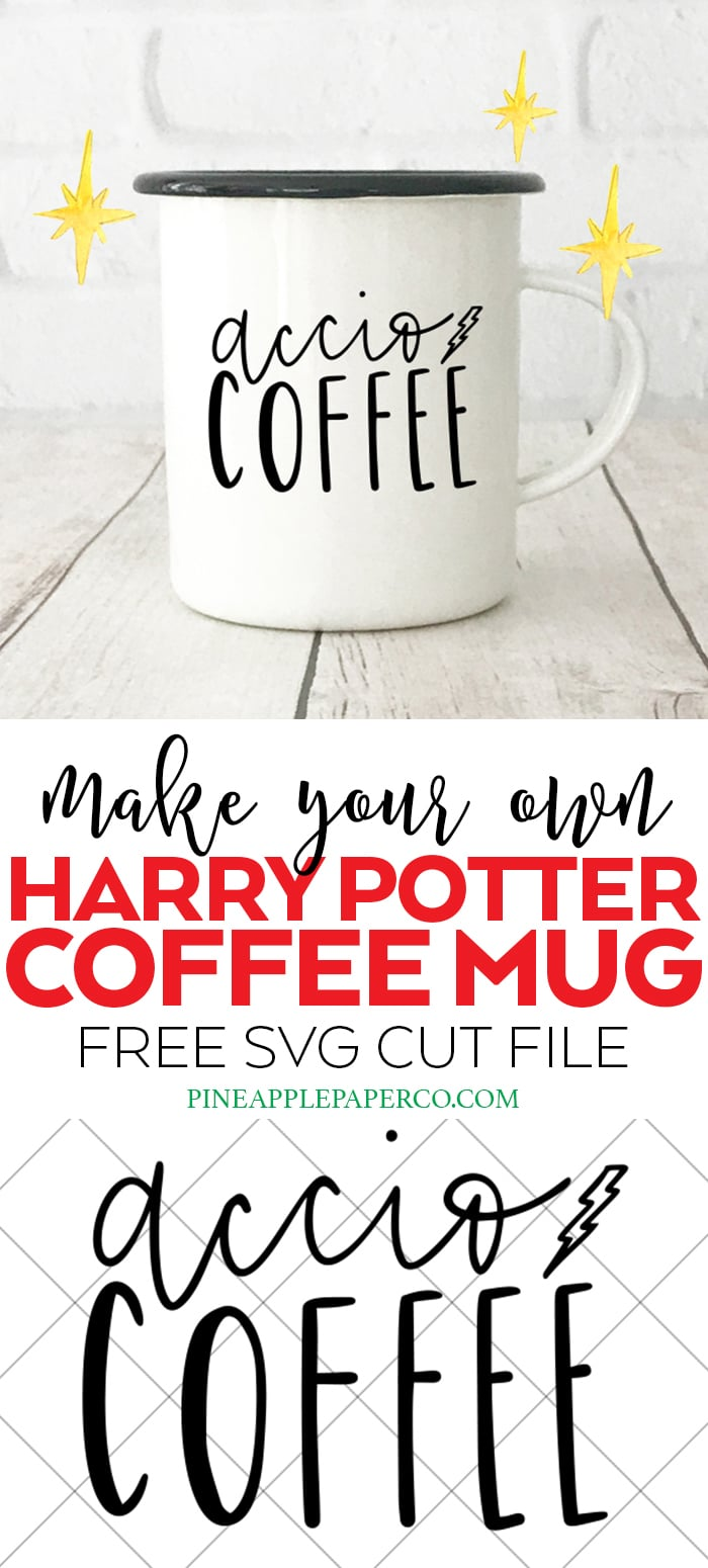FREE Accio Coffee SVG Cut File to Make your Own Harry Potter Coffee Mug for Cricut and Silhouette Machines by Pineapple Paper Co. #cricut #cricutmade #cricutcreated #silhouettecameo #harrypotter #harrypottercrafts #harrypottershirt #harrypottermug #acciocoffee #svgfiles #freesvg #svg #cricutsvg #freecutfiles via @pineappleprco