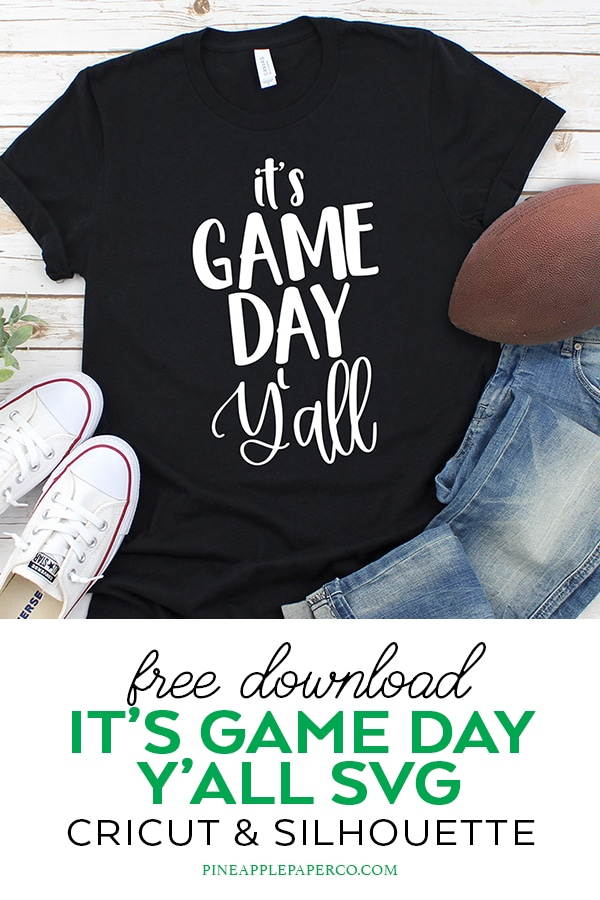 Free It's Game Day Y'all Football SVG Cut File for Cricut & Silhouette Machines by Pineapple Paper Co.