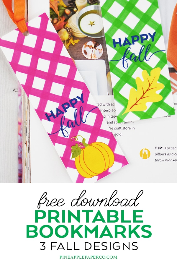 Free Fall Printable Bookmarks by Pineapple Paper Co.