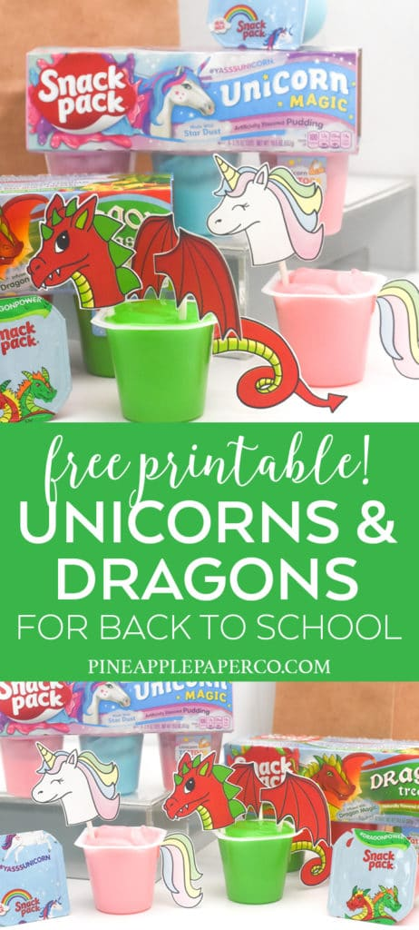 Unicorn & Dragon Snack Pack Free Printables by Pineapple Paper Co.