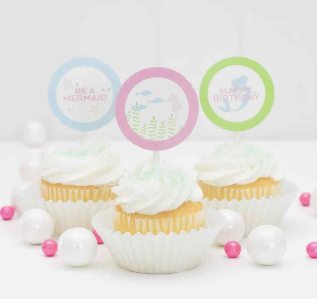 Free Printable Mermaid Cupcake Toppers by Pineapple Paper Co.