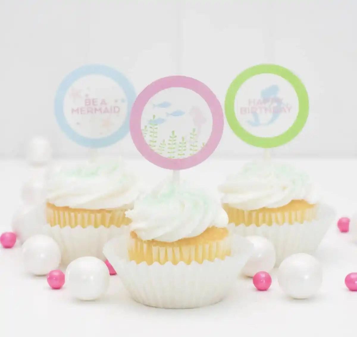 Free Mermaid Cupcake Toppers Printable
