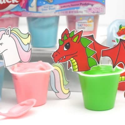 Free Unicorn and Dragon Printables for Magical Snack Pack Cups
