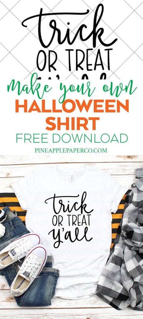 Free Halloween Trick or Treat Y'all SVG Cut File for Cricut and Silhouette by Pineapple Paper Co.