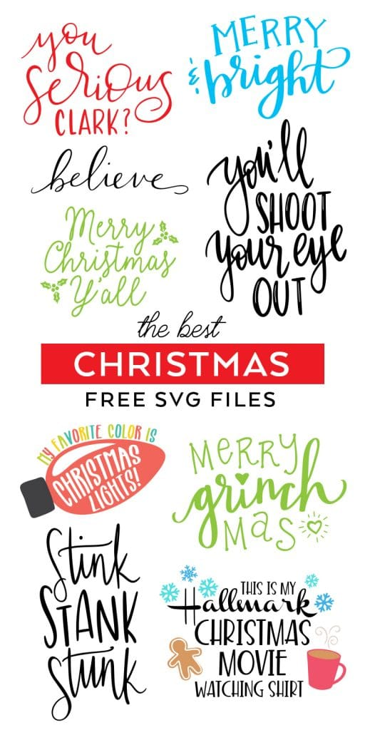 Free Christmas SVG Files to download for Cricut and Silhouette designs curated by Pineapple Paper Co.