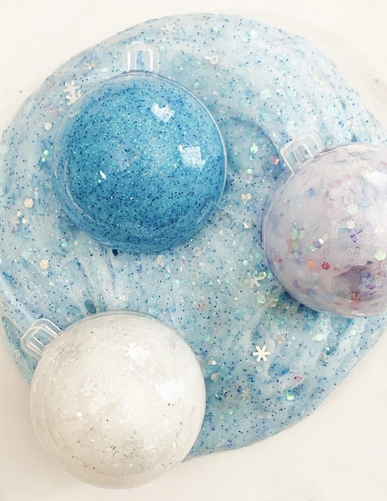 Frozen Inspired Glitter Slime Recipe for Frozen Birthday Parties and Favors by Pineapple Paper Co.