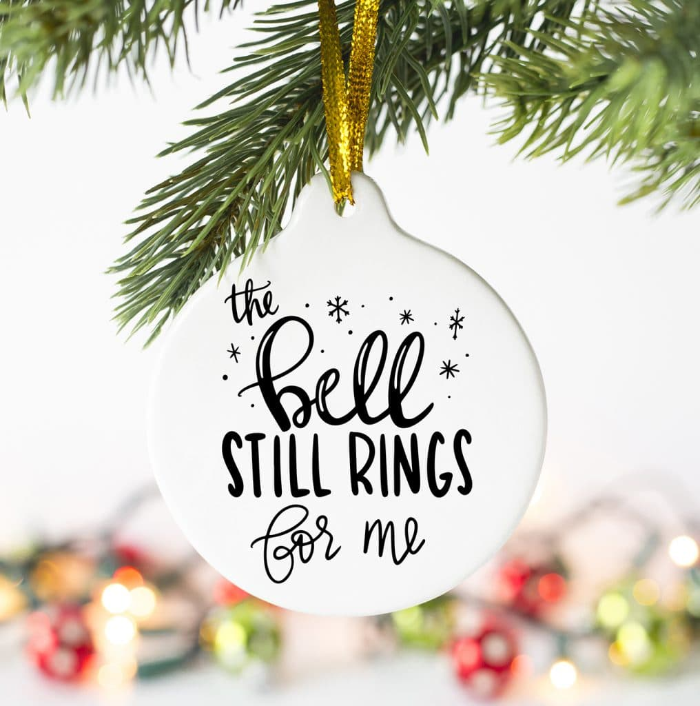 The Bell Still Rings for Me Free SVG to make Polar Express Shirt or Ornament by Pineapple Paper Co.