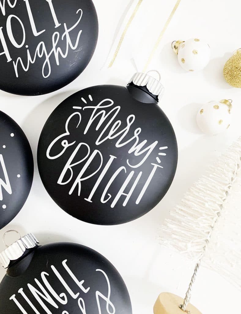 Chalkboard Ornaments DIY with SVG Cut File for Cricut and Silhouette by Pineapple Paper Co.