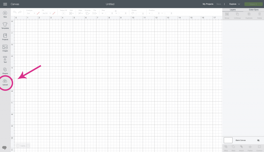 Cricut Design Space upload function with arrow.