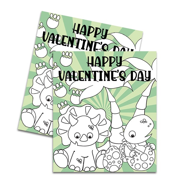 Dinosaur Printable Color Your Own Valentines by Pineapple Paper Co.