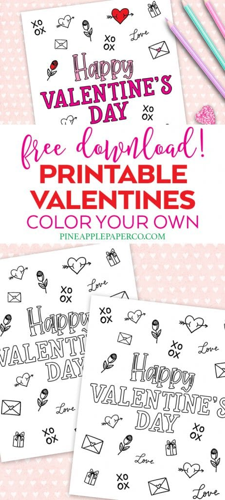 Printable Valentine's Day Cards to Color by Pineapple Paper Co.