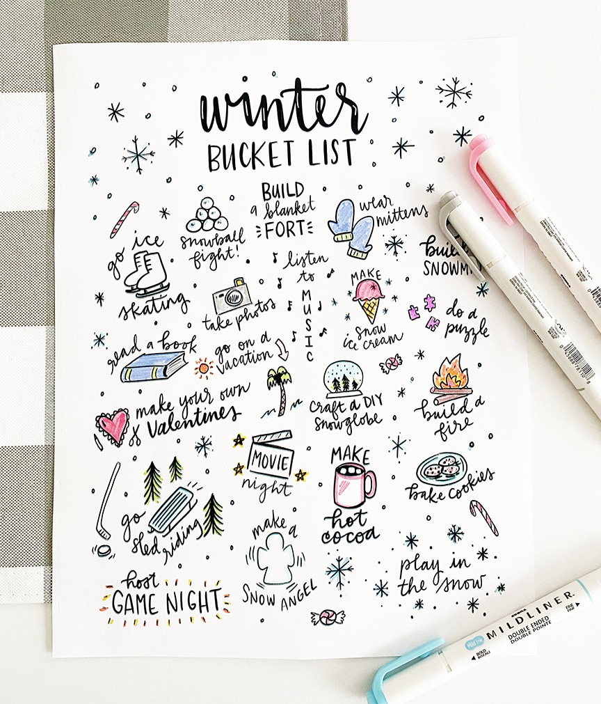 Printable Winter Bucket List Coloring Page by Pineapple Paper Co.