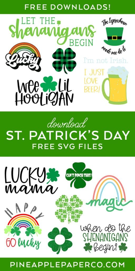 13 Free St. Patrick's Day SVG Files by Pineapple Paper Co.