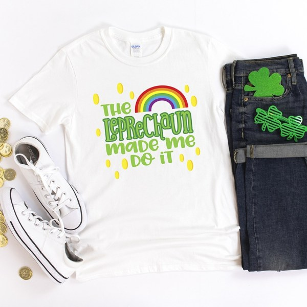 The Leprechaun Made Me Do It SVG Cut File for St. Patrick's Day DIY Shirt by Pineapple Paper Co.