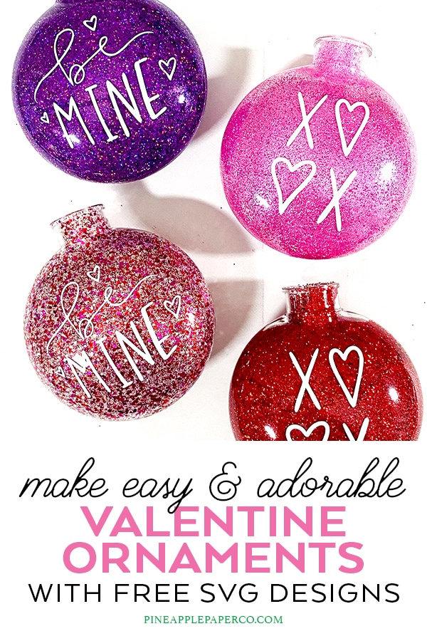 DIY Glitter Valentine Ornaments by Pineapple Paper Co.