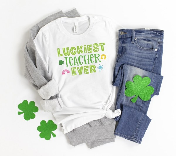 Luckiest Teacher Ever Shirt with SVG File for St. Patrick's Day by Pineapple Paper Co.