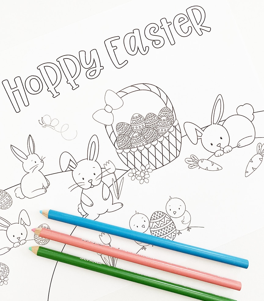 Printable Easter Bunny Coloring Page - Pineapple Paper Co.