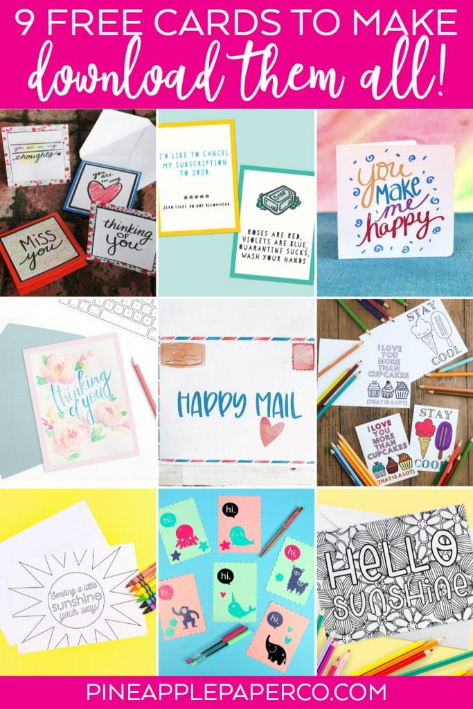 Free DIY Cards - Printable, Cricut, Coloring Page at Pineapple Paper Co.