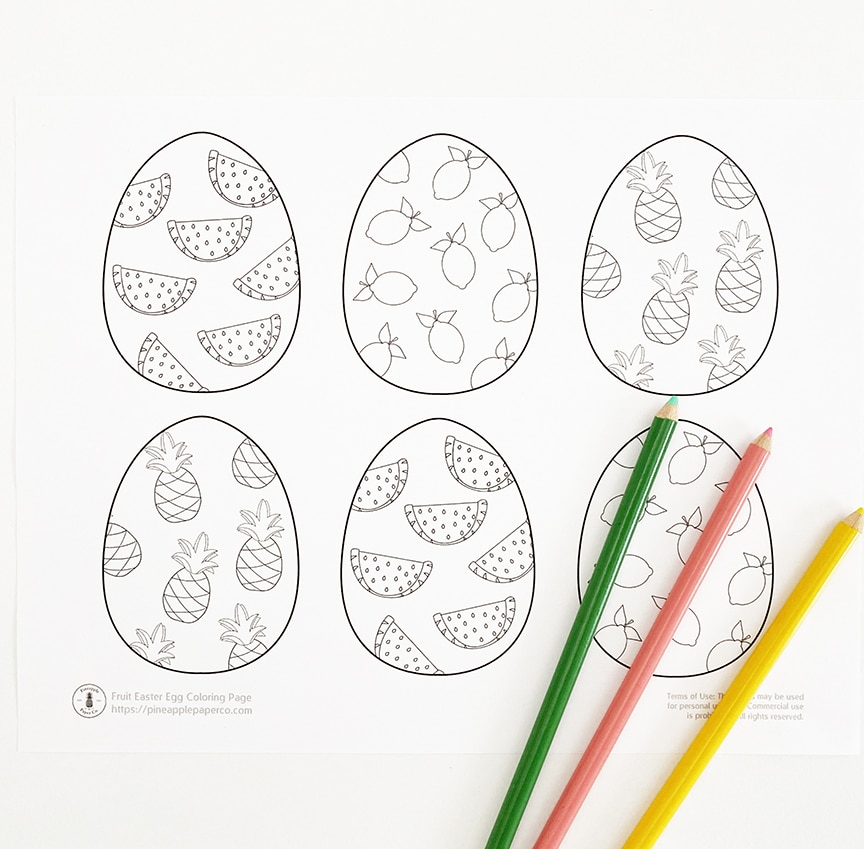 FREE Easter Egg Coloring Pages - Pineapple Paper Co.