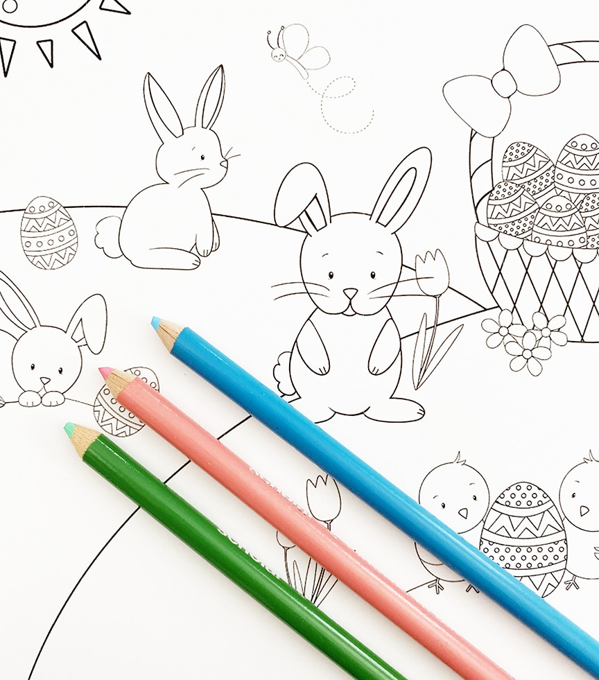 Free Printable Easter Bunny Coloring Page with Colored Pencils by Pineapple Paper Co.