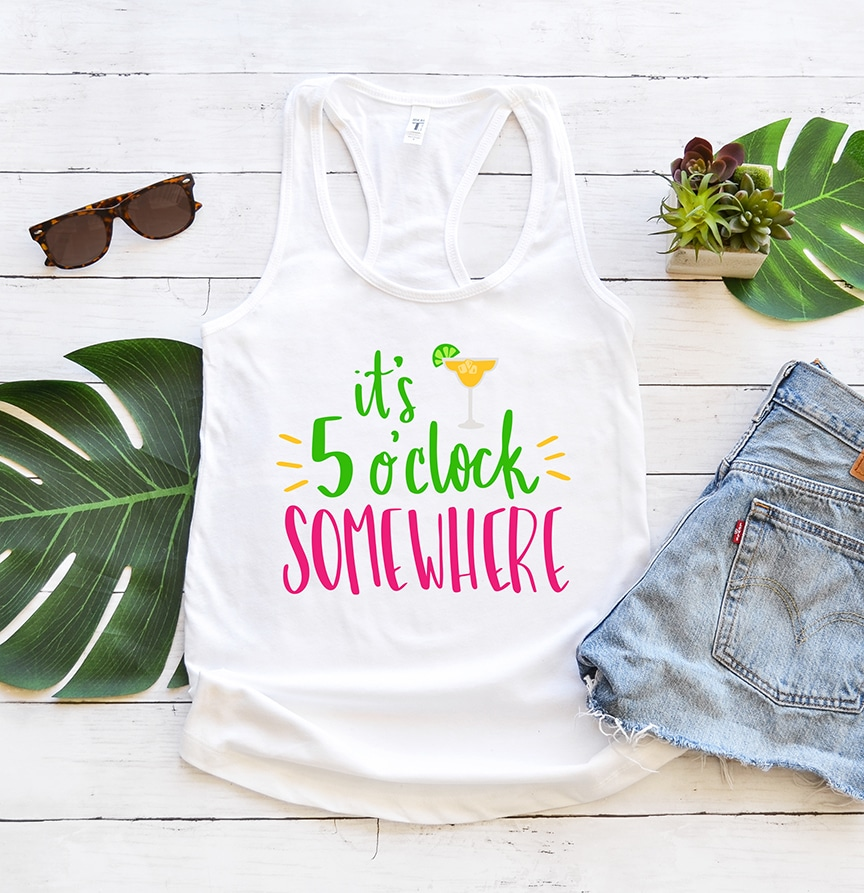 It's 5 o'clock Somewhere Tank with Free SVG by Pineapple Paper Co.