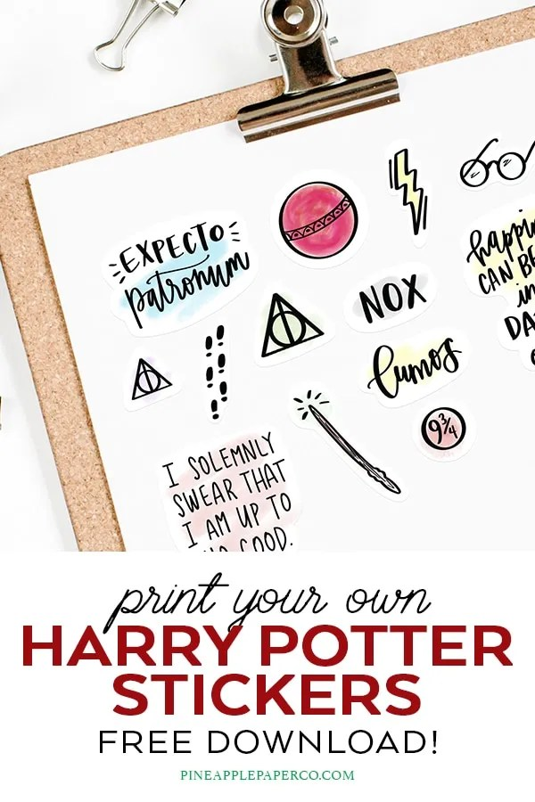 Free Harry Potter Printable Stickers for Planners & Crafts by Pineapple Paper Co.