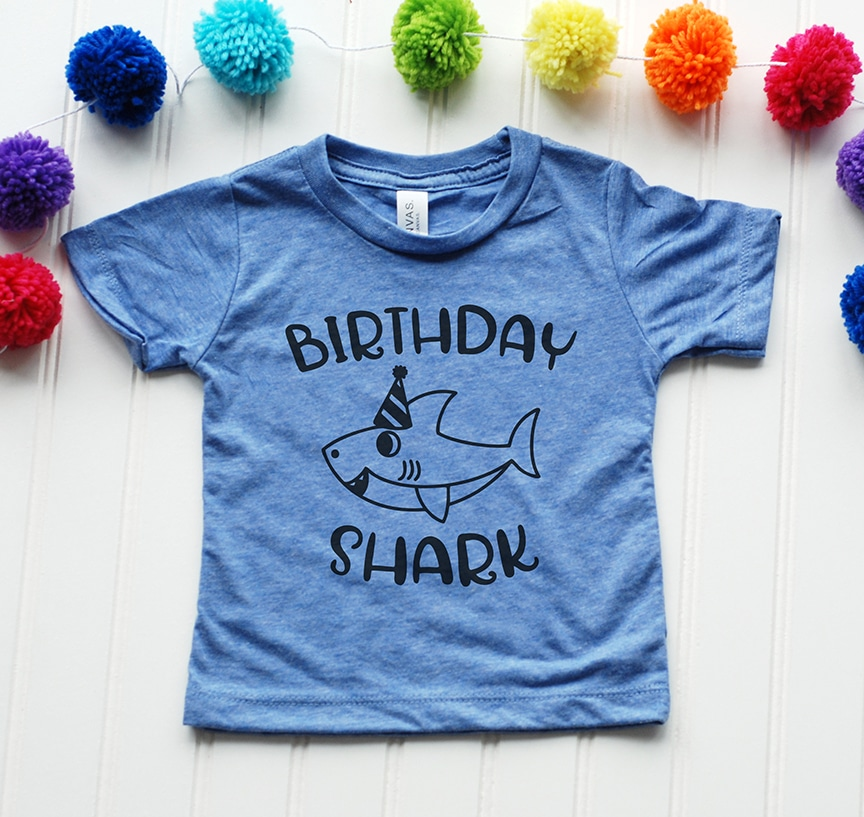 Birthday Shark Shirt in Blue with Free SVG by Pineapple Paper Co.