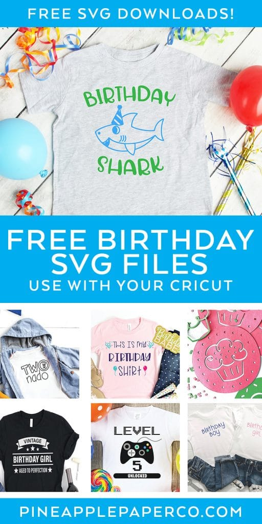 Free Birthday SVG Files with Birthday Shark SVG by Pineapple Paper Co