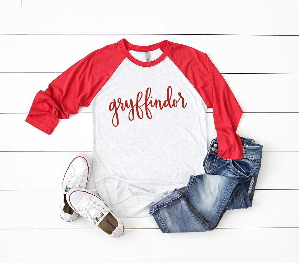 Gryffindor Baseball Raglan Tee with Handlettered Hogwarts House SVG by Pineapple Paper Co.