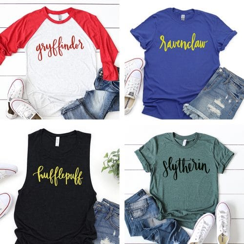 Handlettered Hogwarts Houses SVG on Shirts by Pineapple Paper Co.