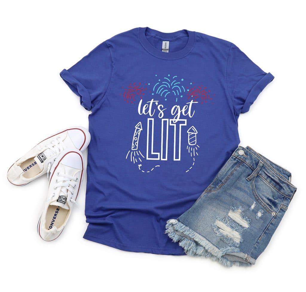 Free Let's Get Lit SVG on Blue Shirt