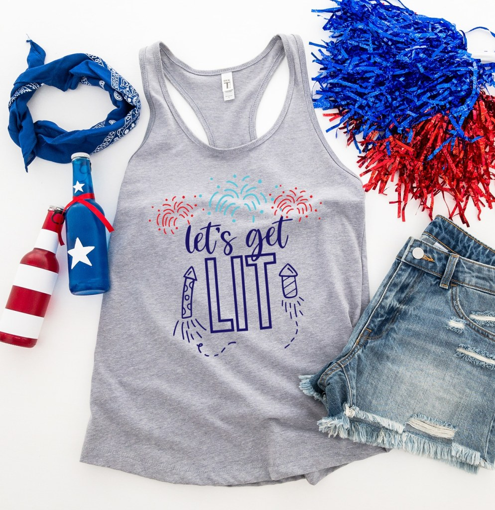 Free Let's Get Lit SVG on Gray Tank Top for 4th of July