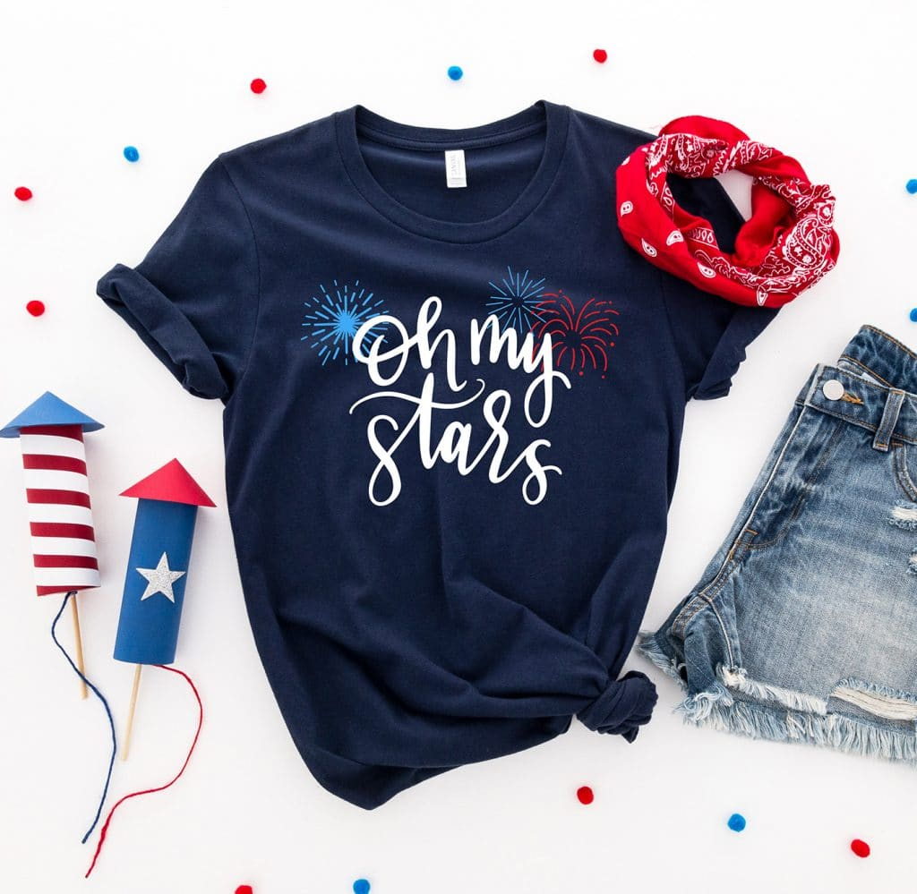 Oh My Stars DIY Shirt with Free Fireworks SVG by Pineapple Paper Co.