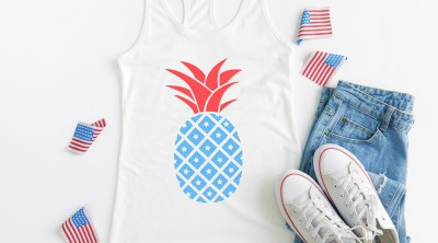 Patriotic Pineapple Tank Top made with Cricut and Free SVG File