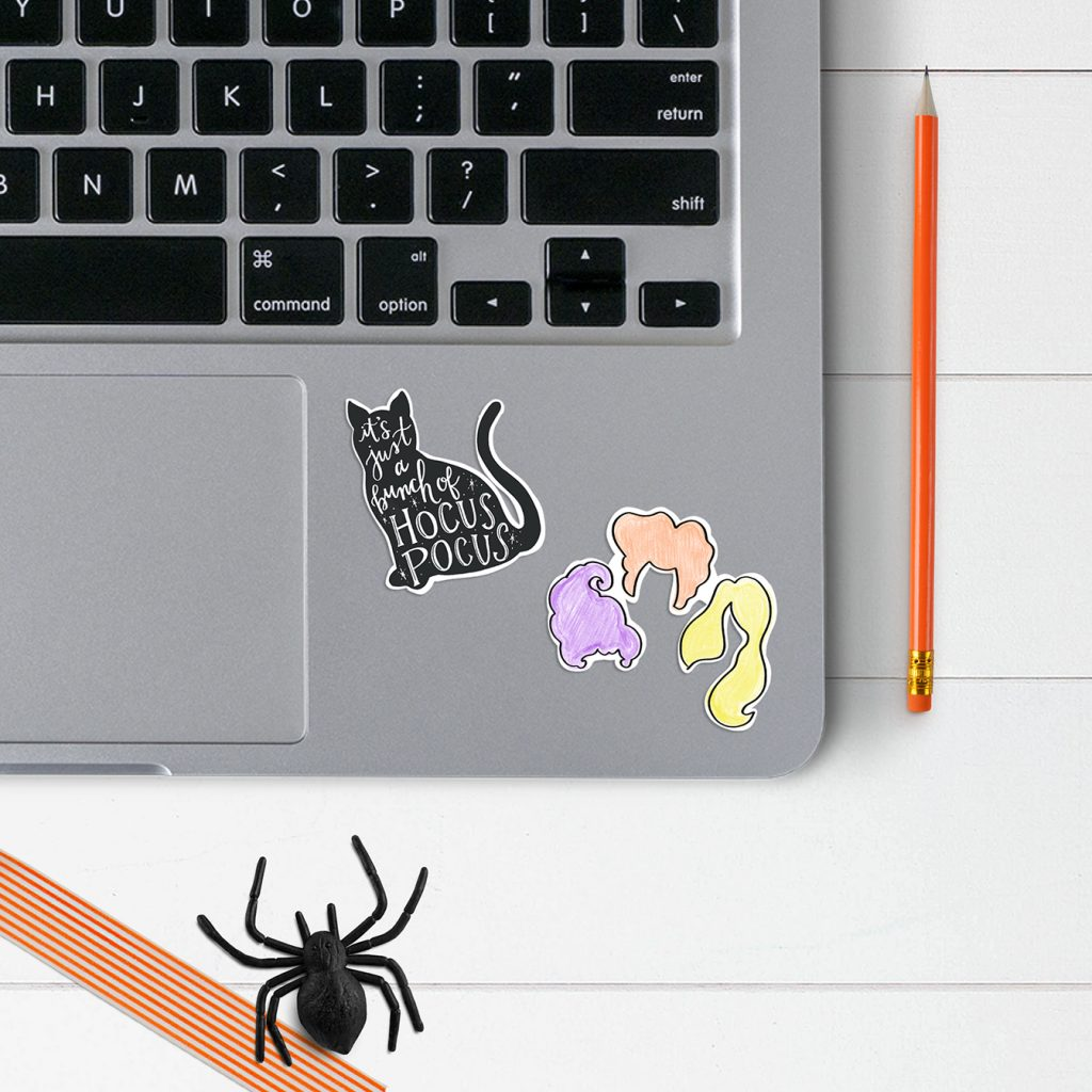 Free Printable Hocus Pocus Stickers to Use as Laptop Decals at Pineapple Paper Co.