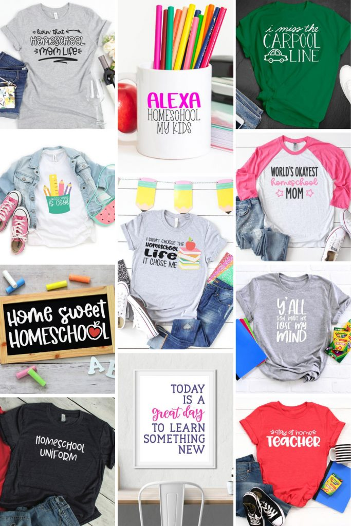 Homeschool Shirts and Crafts made with Cricut and Silhouette