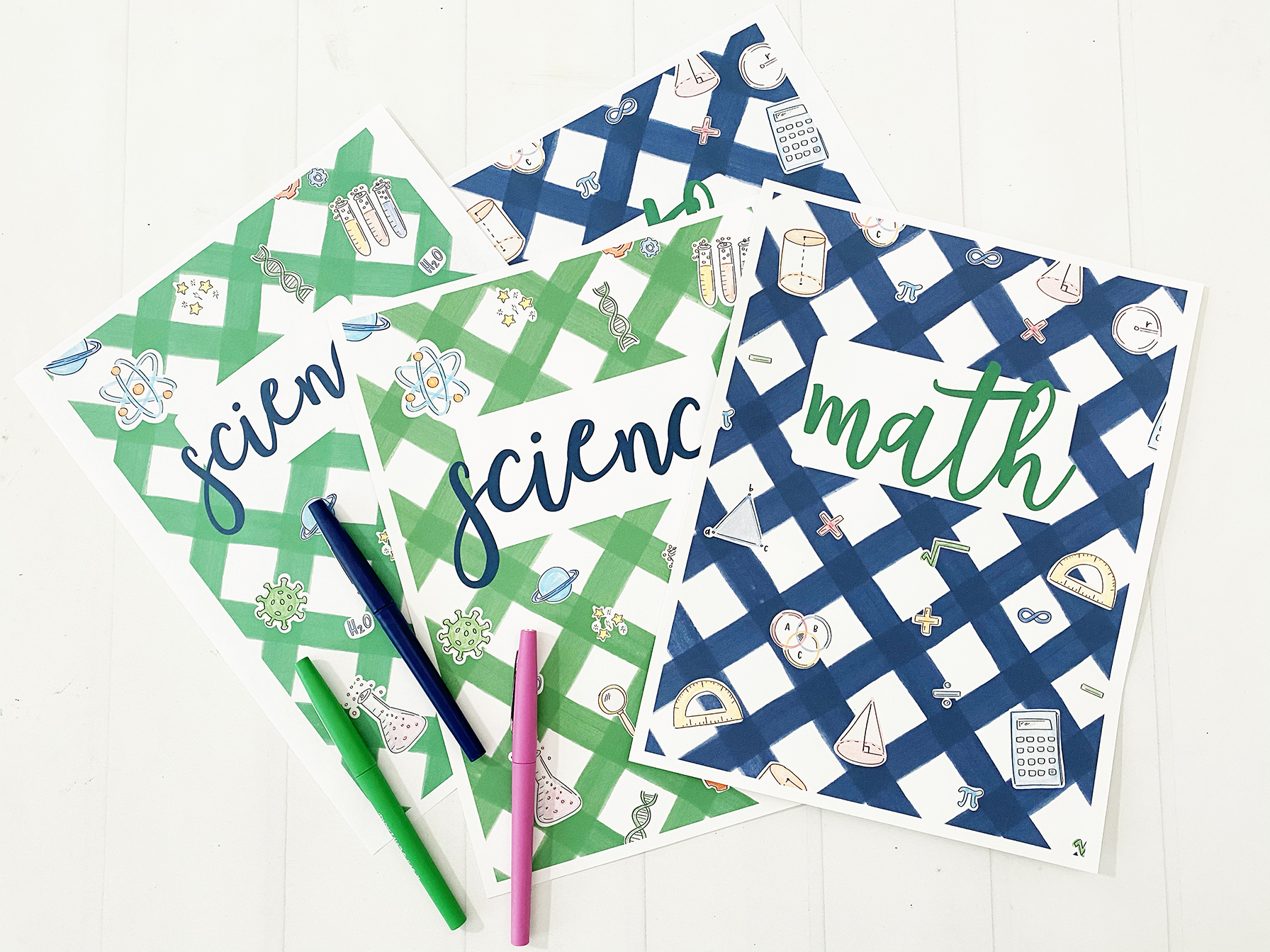 Printable Math and Science Notebook and Binder Covers