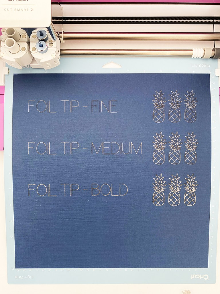 Fine, Medium, and Bold Cricut Foil Transfer System Tip Comparison