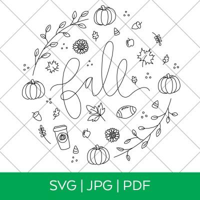 Fall Single Line Draw SVG