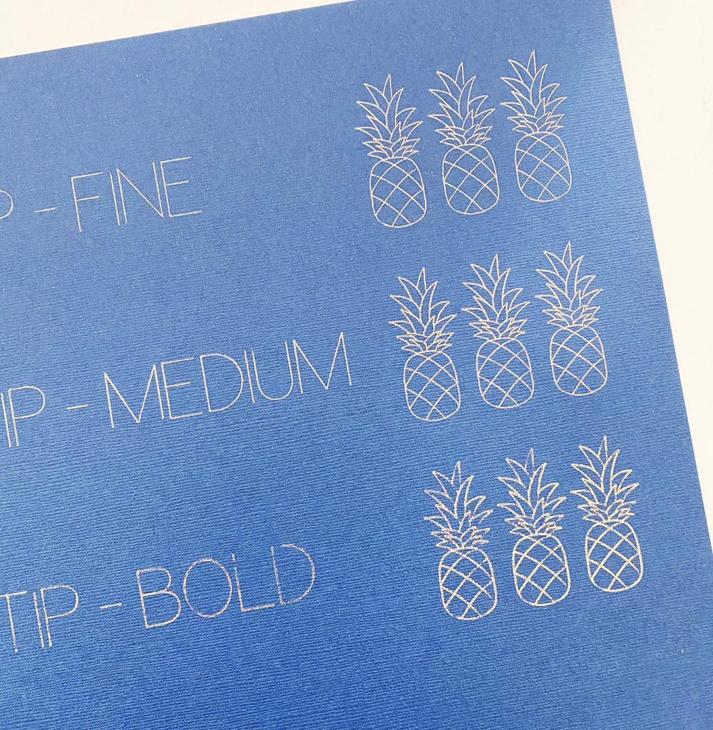 Fine, Medium, and Bold Cricut Foil Transfer System Tip Comparison